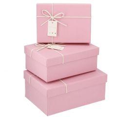 3er Set Karton Uni, Kordel, rosa