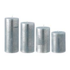 4er Set Stumpenkerze Metallic, petrol