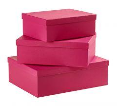 3er Set Geschenkkarton Edel, groß, pink