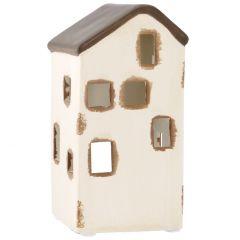 Teelichthalter Haus, Rustik, 5 Fenster, 14 cm