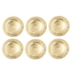 6er Set Dekoteller, 33 cm, gold