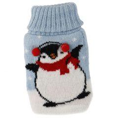 Strick-Taschenwärmer Pinguin, blau, 13 cm