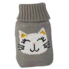 Strick-Taschenwärmer Katze, grau, 13 cm