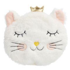 Kirschkernkissen Katze, flauschig, weiß