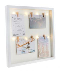 LED-Bilderrahmen, 6 Bilder, weiß