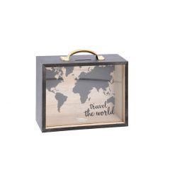 Spardose Koffer, Travel the World, 20 cm