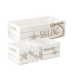 3er Set Kiste Seil, Seestern