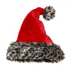 Weihnachtsmütze Fancy, Leopardenplüsch