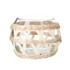 Glas-Windlicht Kugel, Bast, natur, 10 cm