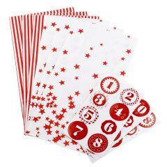 Adventskalender-Set, 24 Tüten/Sticker, rot/weiß