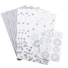 Adventskalender-Set, Tüten/Sticker, grau