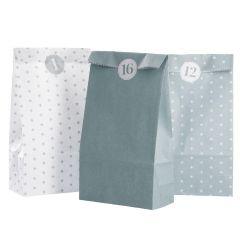 Adventskalender-Set, Tüten/Sticker, mintgrün/weiß
