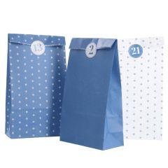 Adventskalender-Set, Tüten/Sticker, blau/weiß