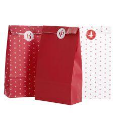 Adventskalender-Set, Tüten/Sticker, rot/weiß