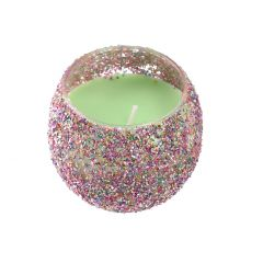 Kerze im Glas, Orient, kugelig, hellgrün, 8 x 7 cm