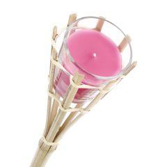 Fackel mit Duftkerze, pink, 75 cm