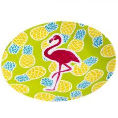 Teller Flamingo, grün, 23 cm