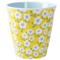 Becher Design, Blumen gelb, 300 ml