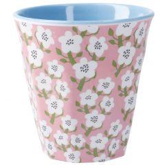 Becher Design, Blumen pink, 300 ml
