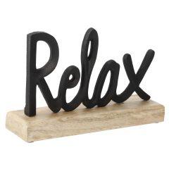Schriftzug auf Holzfuß, Relax, schwarz