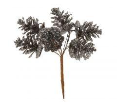 Zweig Zapfen, gebunden, Glitter, schwarz/dunkelsilber