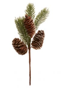 Zweig Tanne, Schnee/Zapfen, 26 cm