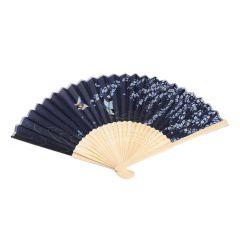 Fächer Bambus, Blumen, schwarz