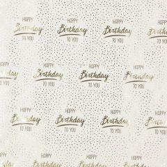 Geschenkpapier Anlass/Dots, Happy Birthday/gold, 2 m